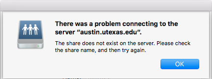"There was a problem connecting to the server ""austin.utexas.edu""."